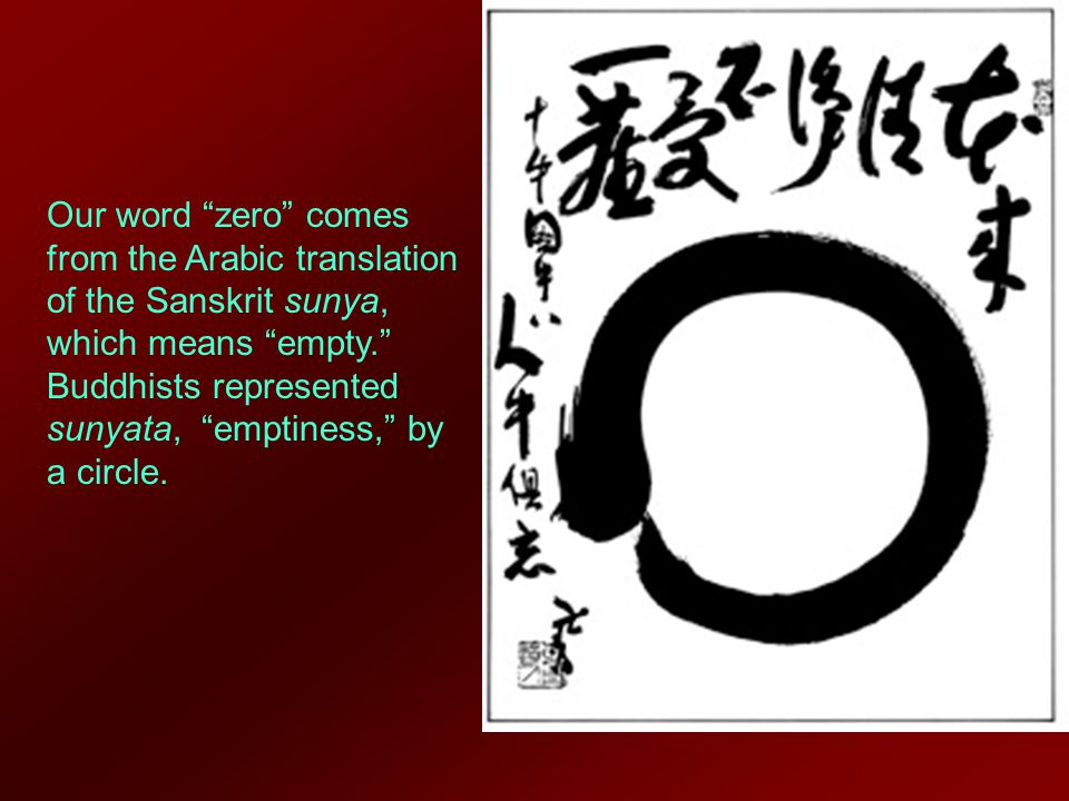 Our word zero comes from the Arabic translation of the Sanskrit sunya, which means empty. Buddhists represented sunyata, emptiness, by a circle.