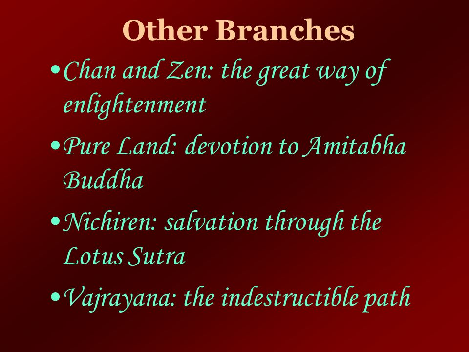 Other Branches Chan and Zen: the great way of enlightenment. Pure Land: devotion to Amitabha Buddha.