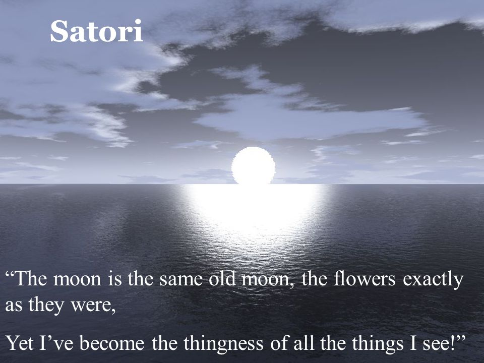 Satori The moon is the same old moon, the flowers exactly as they were, Yet I've become the thingness of all the things I see!