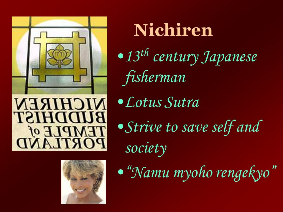 Nichiren 13th century Japanese fisherman. Lotus Sutra.