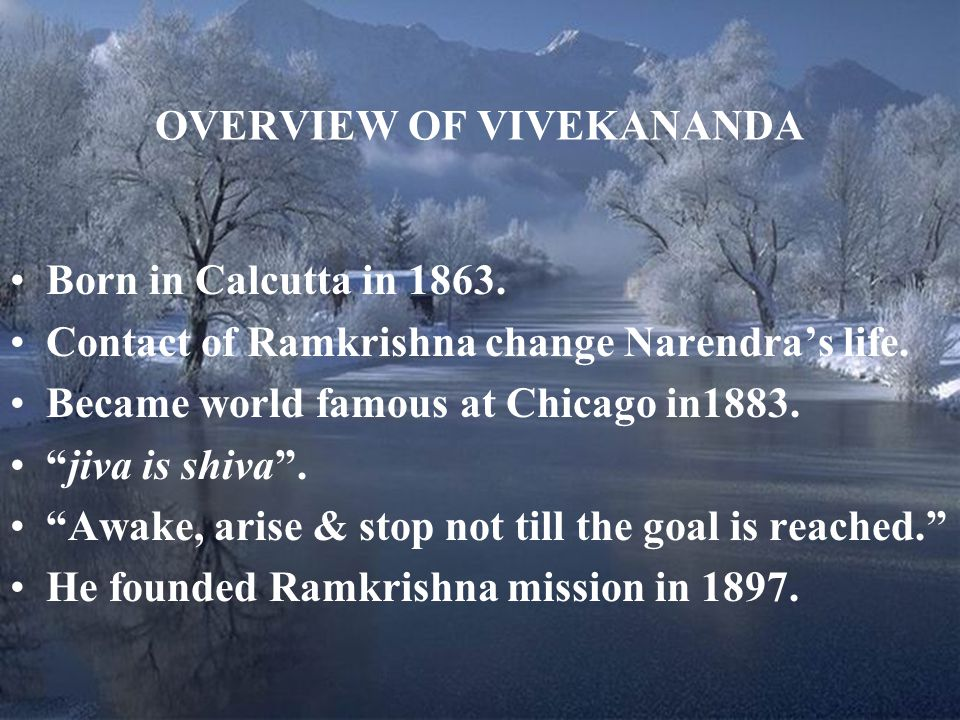 OVERVIEW OF VIVEKANANDA