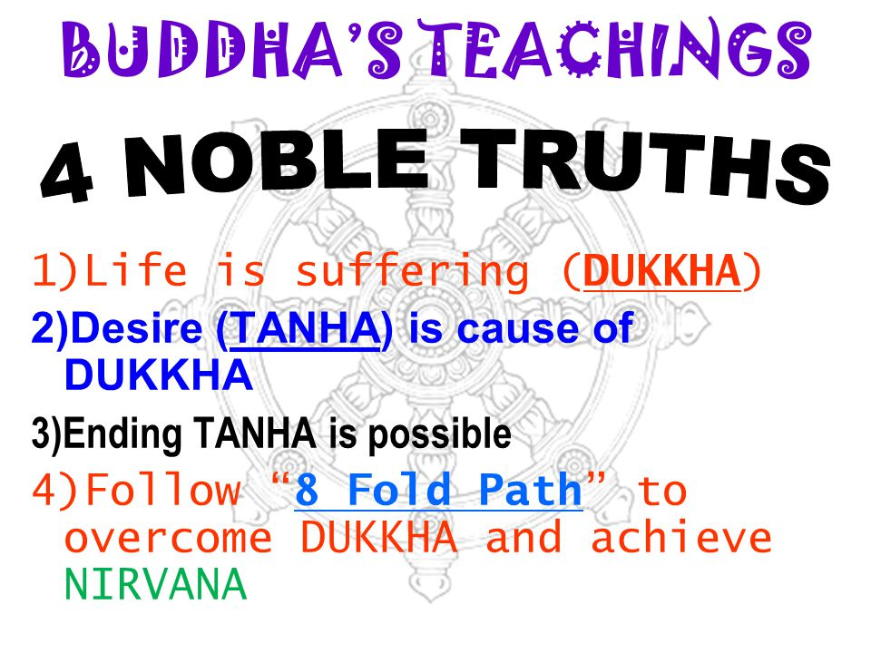 BUDDHA'S TEACHINGS 4 NOBLE TRUTHS 1)Life is suffering (DUKKHA)