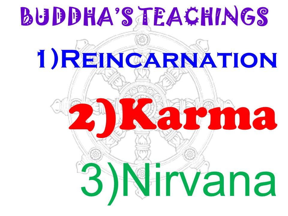 BUDDHA'S TEACHINGS 1)Reincarnation 2)Karma 3)Nirvana