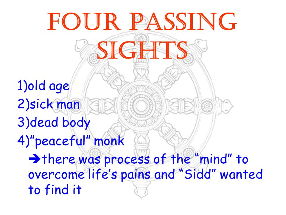 FOUR PASSING SIGHTS 1)old age 2)sick man 3)dead body 4) peaceful monk