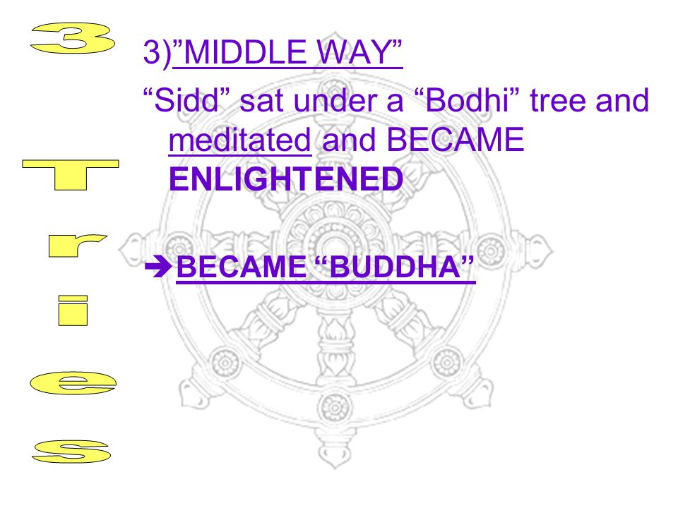 3) MIDDLE WAY Sidd sat under a Bodhi tree and meditated and BECAME ENLIGHTENED. BECAME BUDDHA