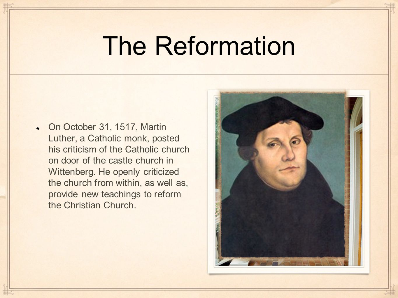 impact of the reformation Editor's note: this year marks the 500th anniversary of the reformation, and this is one in a series of columns to describe the origins, nature and impact of the.
