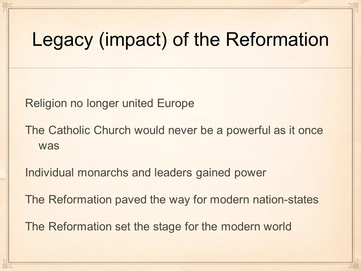 """effects of the reformation According to the newspaper, """"the phenomenal effect"""" of the ninety-five theses """" quickly spread throughout the country luther probably became famous because the theses critical of the church were printed on a leaflet that was in circulation"""" time expounded on the widespread impact of the reformation."""