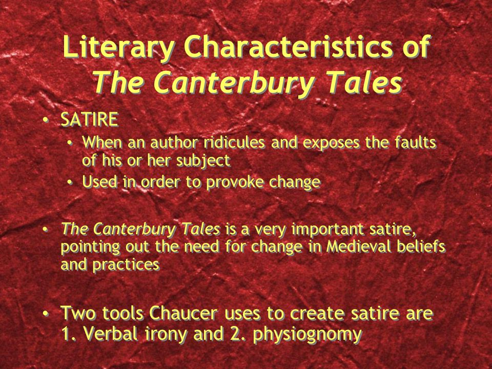 geoffrey chaucer used science of physiognomy in the canterbury tales The canterbury tales geoffrey chaucer author/context geoffrey chaucer lived during a tumultuous period in england's history during his early youth, the bubonic plague terrorized europe, killing a large portion of the population, and forever leaving a lasting impression on those surviving the catastrophe.