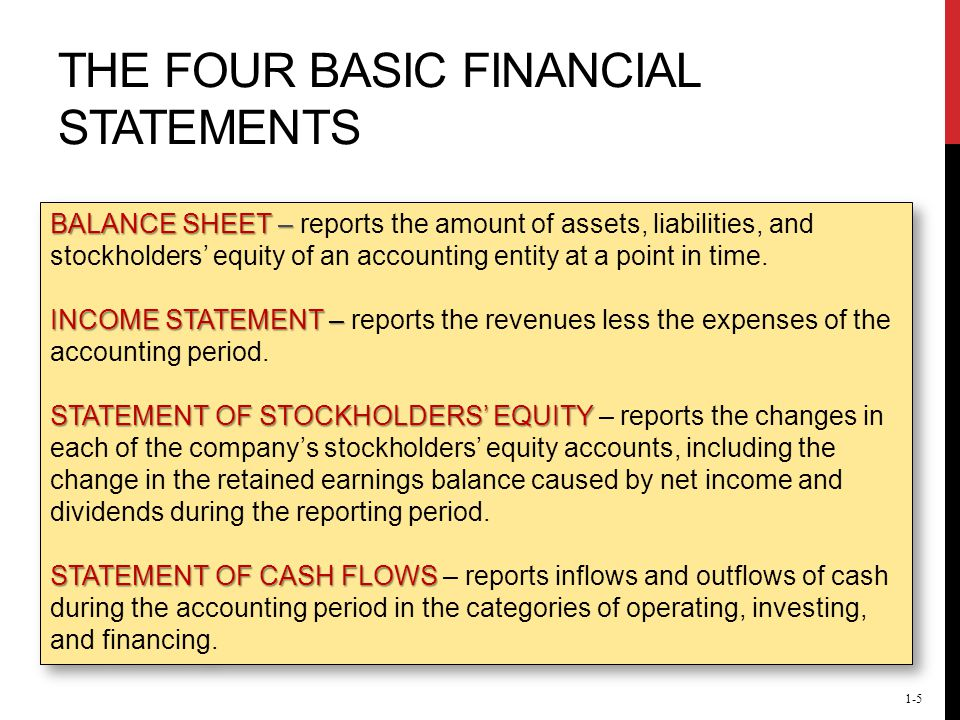 four basic financial statements There are four reports that make up the financial statements in this lesson, we will talk about how to create the balance sheet and the statement.