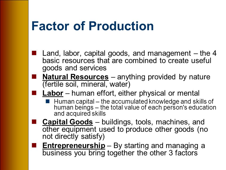 management a factor of production and Types of factors which influence the cost of production are as follows: an entrepreneur has to take some very important decisions before setting up a new venture these decisions have close bearing on the cost of production of the product in the long run he has to decide the site of the works, the.