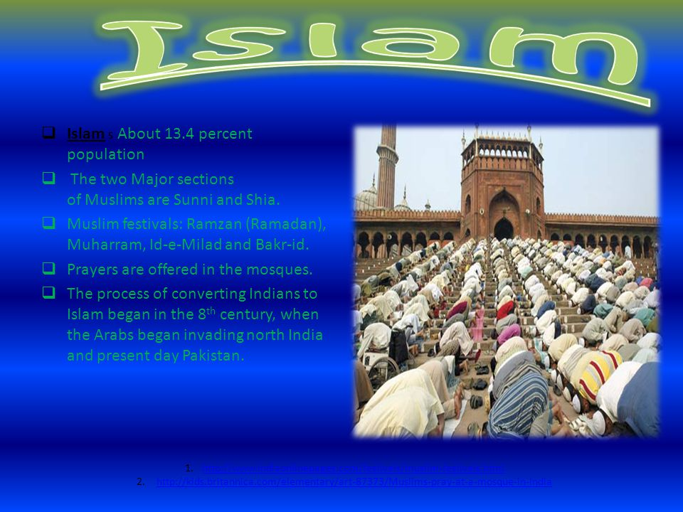 Islam Islam 5 About 13.4 percent population