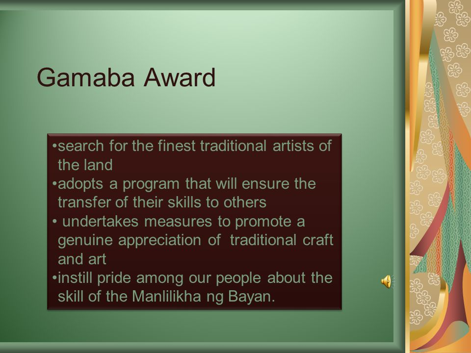 Gamaba Award search for the finest traditional artists of the land