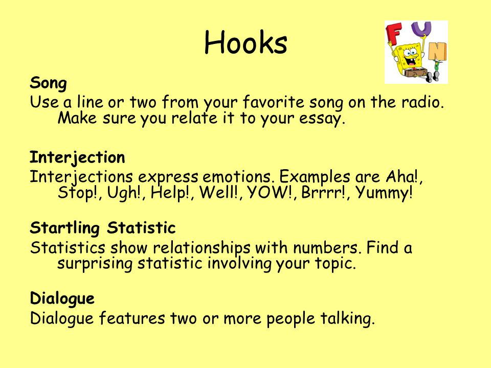 good hooks for essays about books If you need help writing an essay on a book, you have come to the right place known also as literary essays, those essays on a book can be equated more or less to a modern day book report.