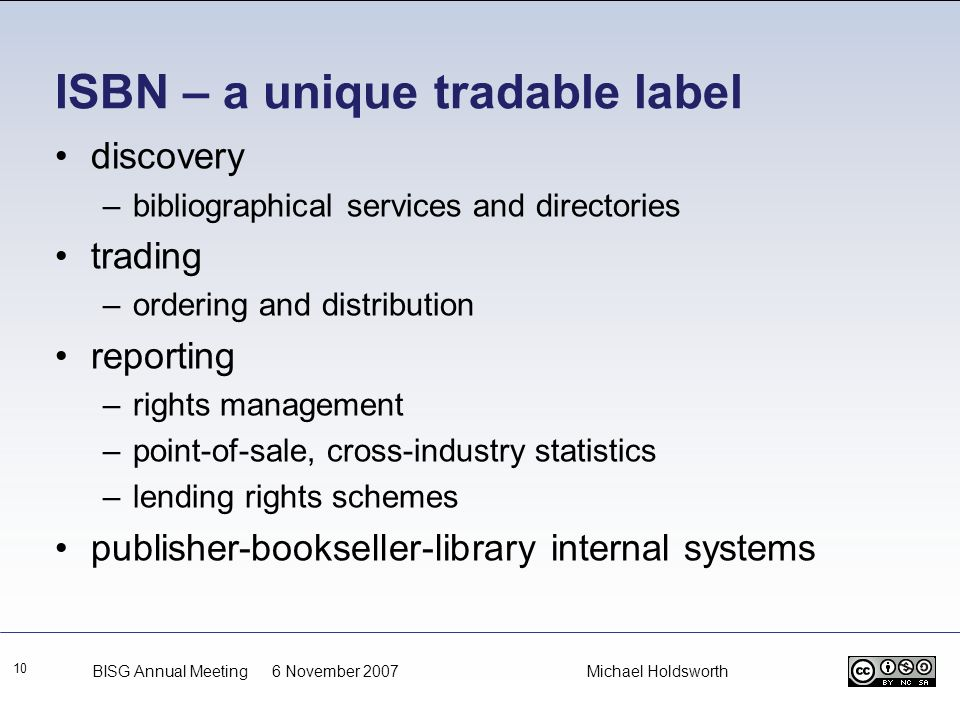 ISBN – a unique tradable label