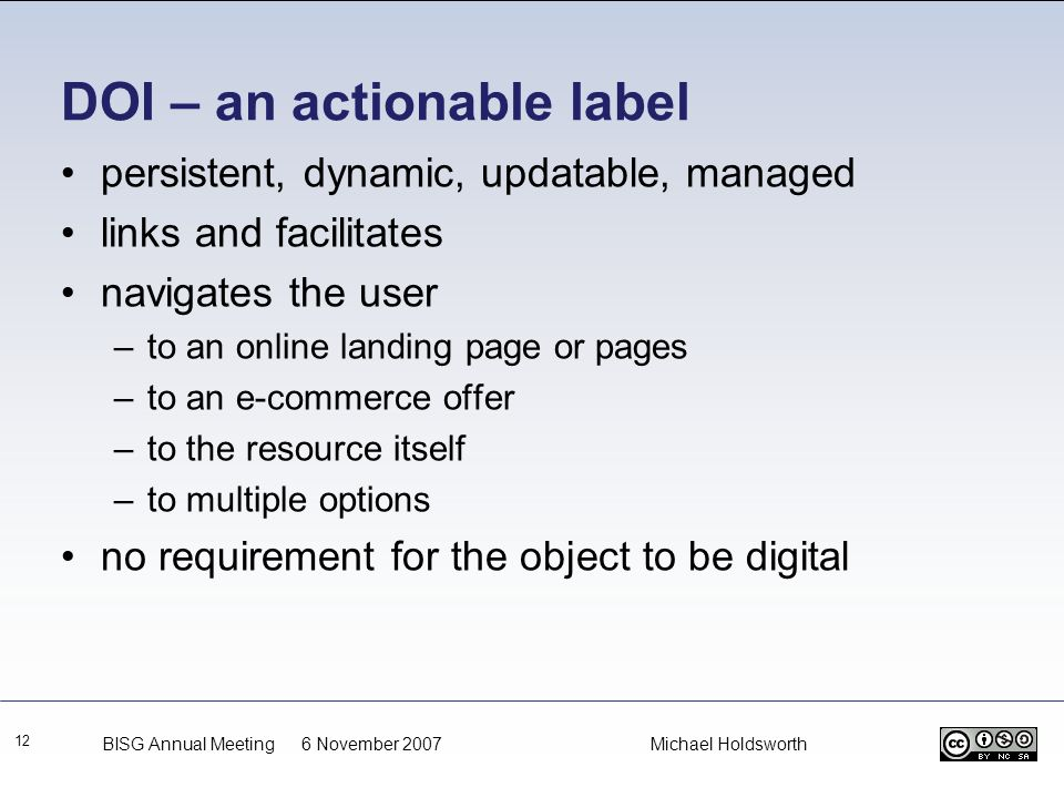 DOI – an actionable label