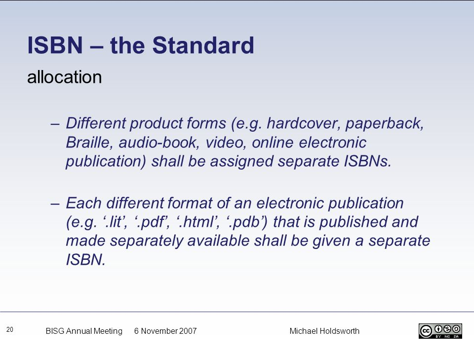 ISBN – the Standard allocation