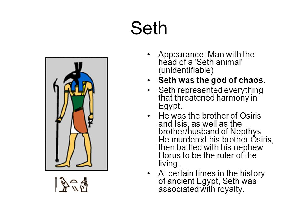 Seth Appearance: Man with the head of a Seth animal (unidentifiable)
