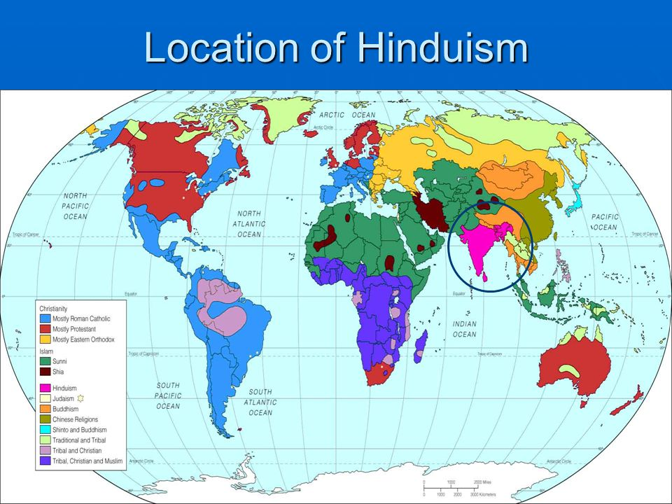 Location of Hinduism