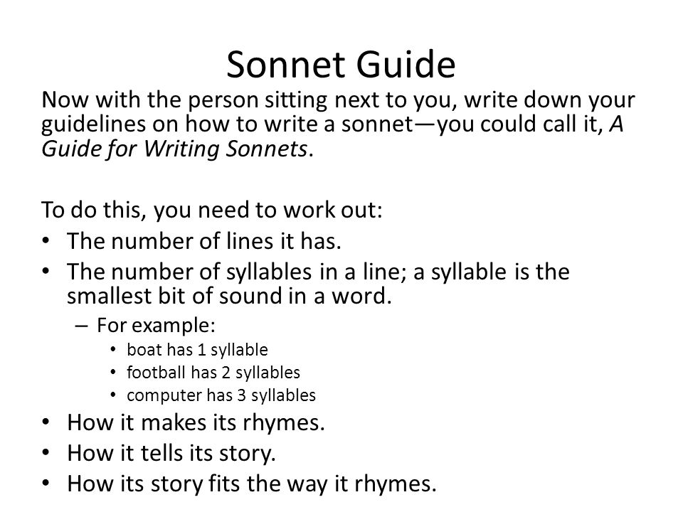 how to write a sonnet 14 lines 10 syllables word