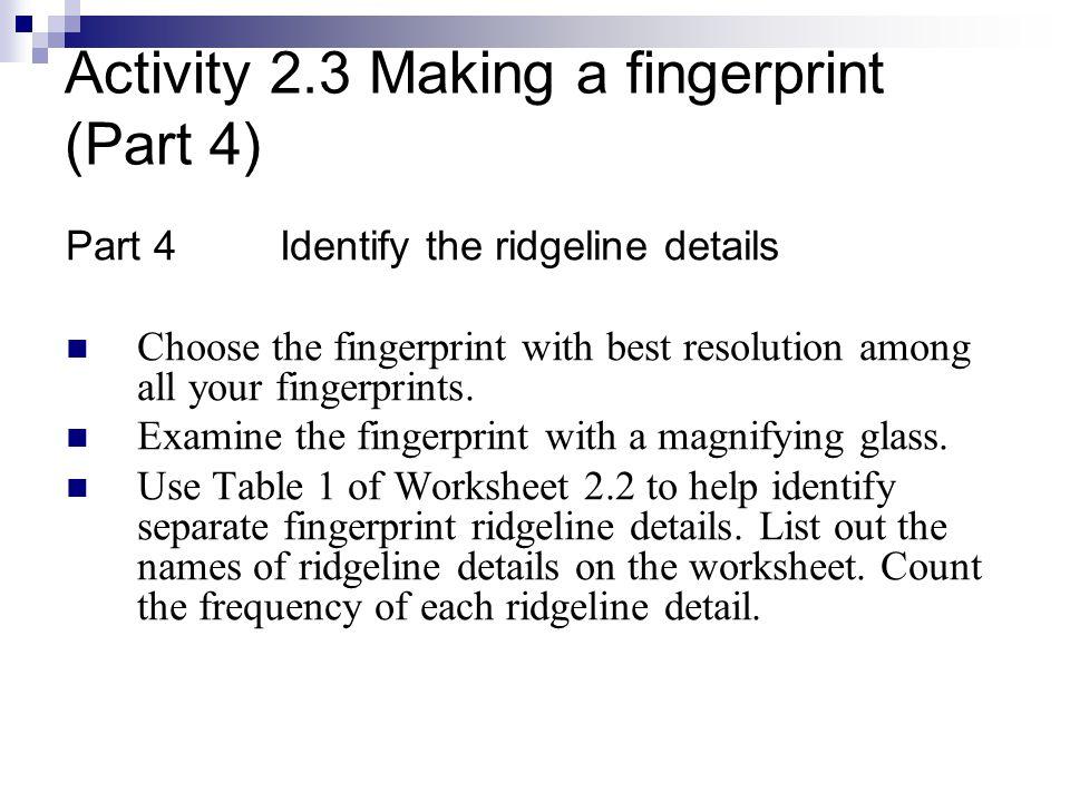 Lesson 2 Fingerprints. - ppt download