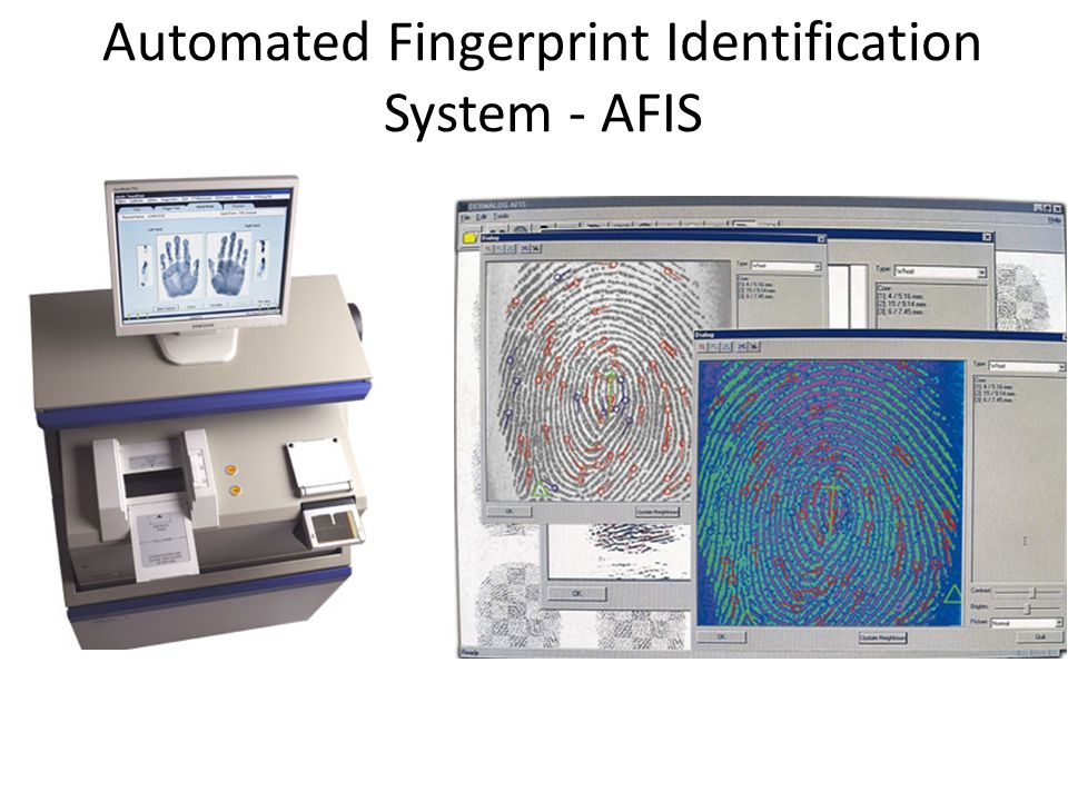 afis automated fingerprint identification systems allows Automated fingerprint identification systems (afis) technology has provided law  enforcement with an invaluable tool for positive ~dent ification afis allows law.