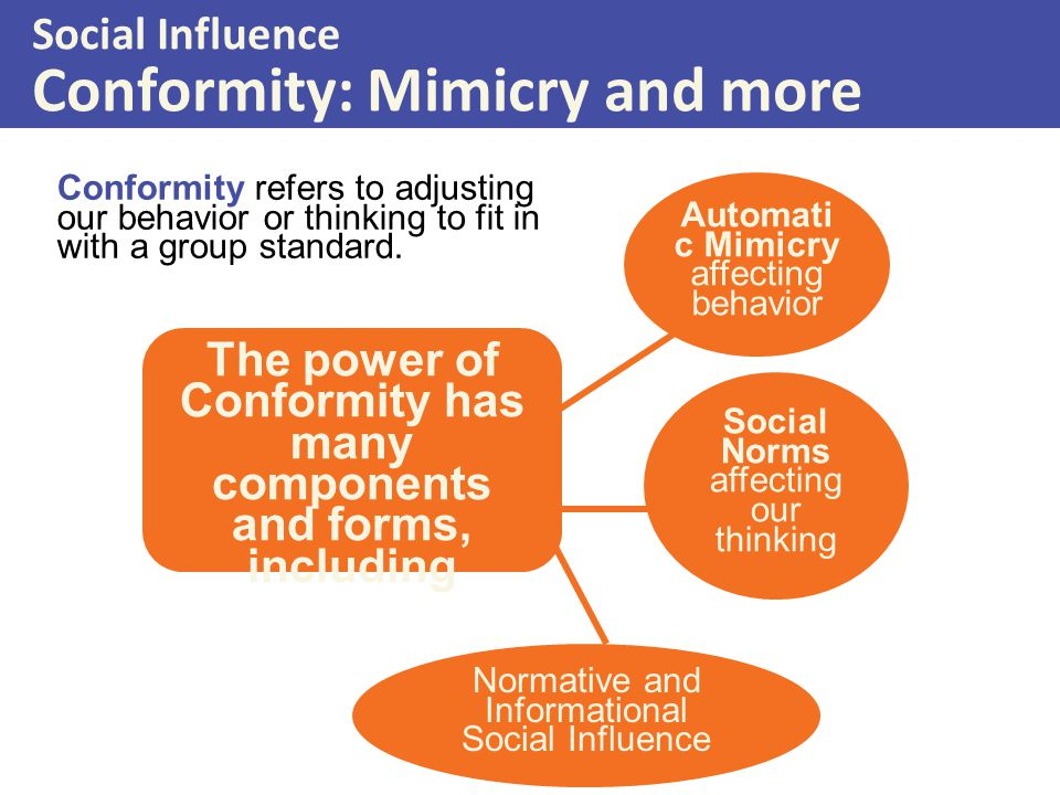 the social influences to conformity and personality traits In this section we will consider how personality variables, gender, and culture influence conformity person differences even in cases in which the pressure to conform is strong and a large percentage of individuals do conform (such as in solomon asch's line-judging research), not everyone does so.