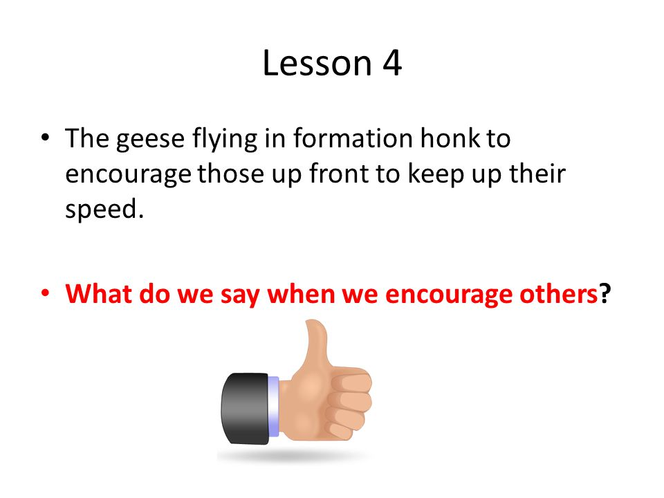 Lesson 4 The geese flying in formation honk to encourage those up front to keep up their speed.