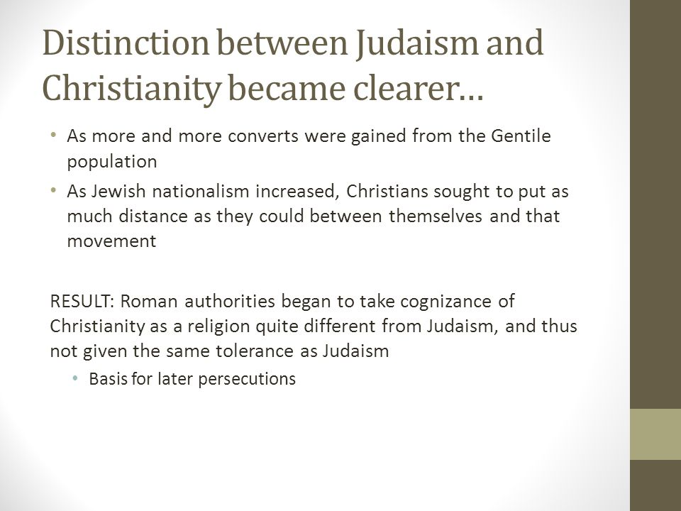 an analysis of the distinctions between judaism and christianity Judaism vs christianity judaism and analysis of the sabbath in judaism and and vital distinctions between judaism and christianity.