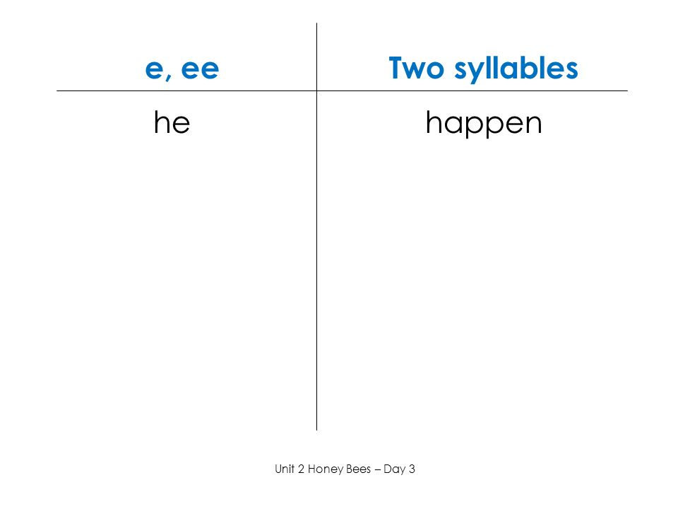 e, ee Two syllables he happen.