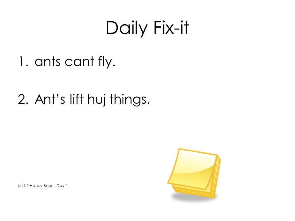 Daily Fix-it ants cant fly. Ant's lift huj things.