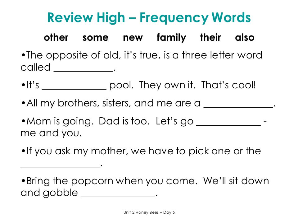 Review High – Frequency Words other some new family their also