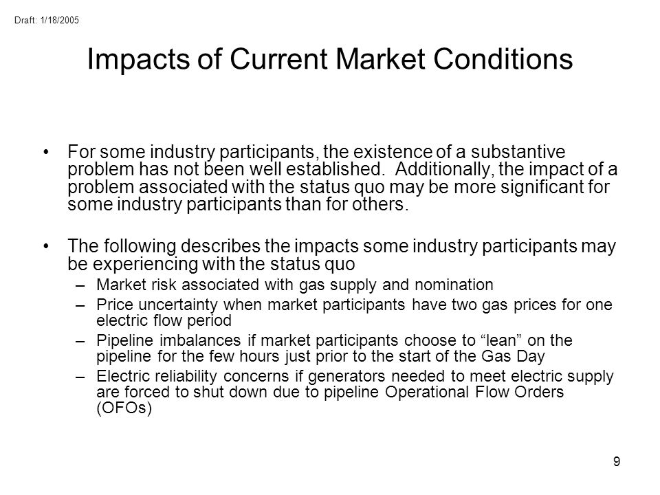 Impacts of Current Market Conditions