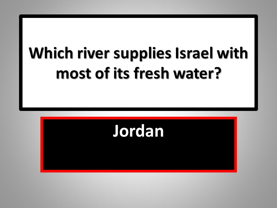 Which river supplies Israel with most of its fresh water