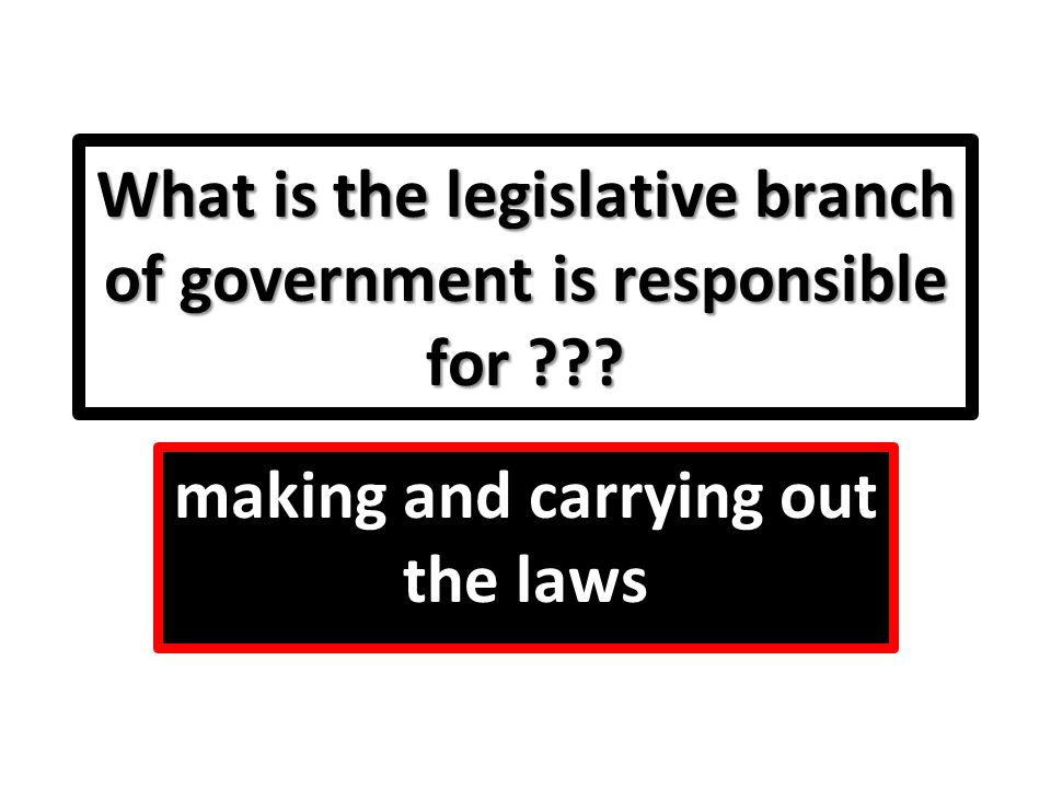 What is the legislative branch of government is responsible for