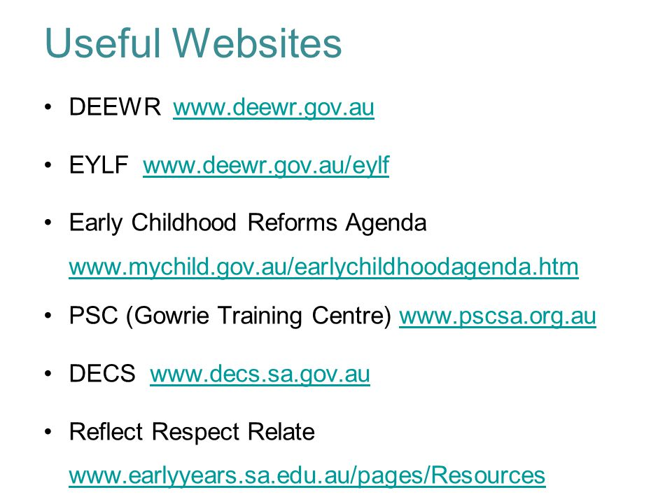 deewr early years learning framework educators guide