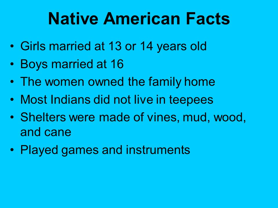 Native American Facts S Married At 13 Or 14 Years Old