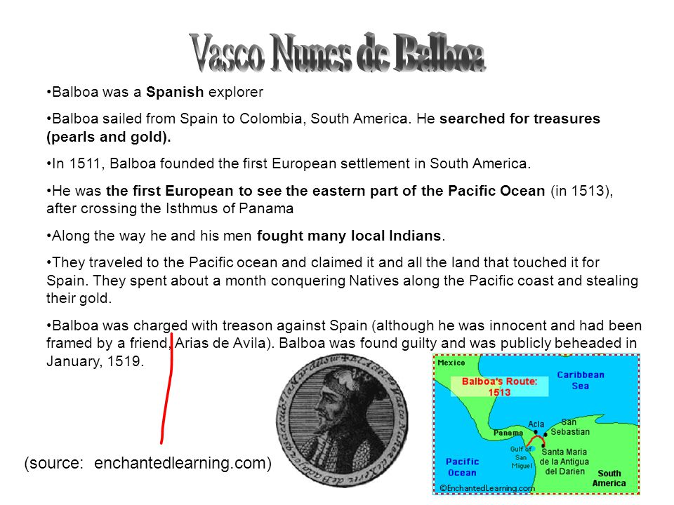 Vasco Nunes de Balboa (source: enchantedlearning.com)