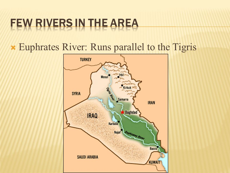 Few rivers in the area Euphrates River: Runs parallel to the Tigris