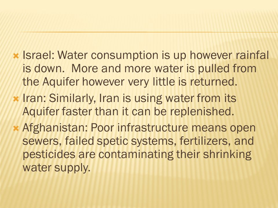 Israel: Water consumption is up however rainfal is down