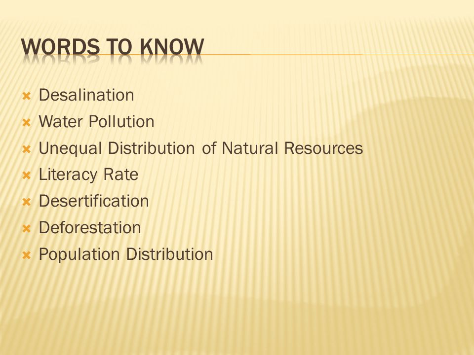 Words to know Desalination Water Pollution