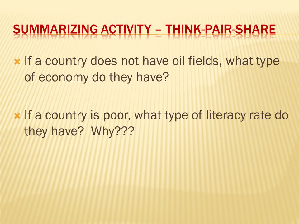 Summarizing Activity – Think-Pair-Share