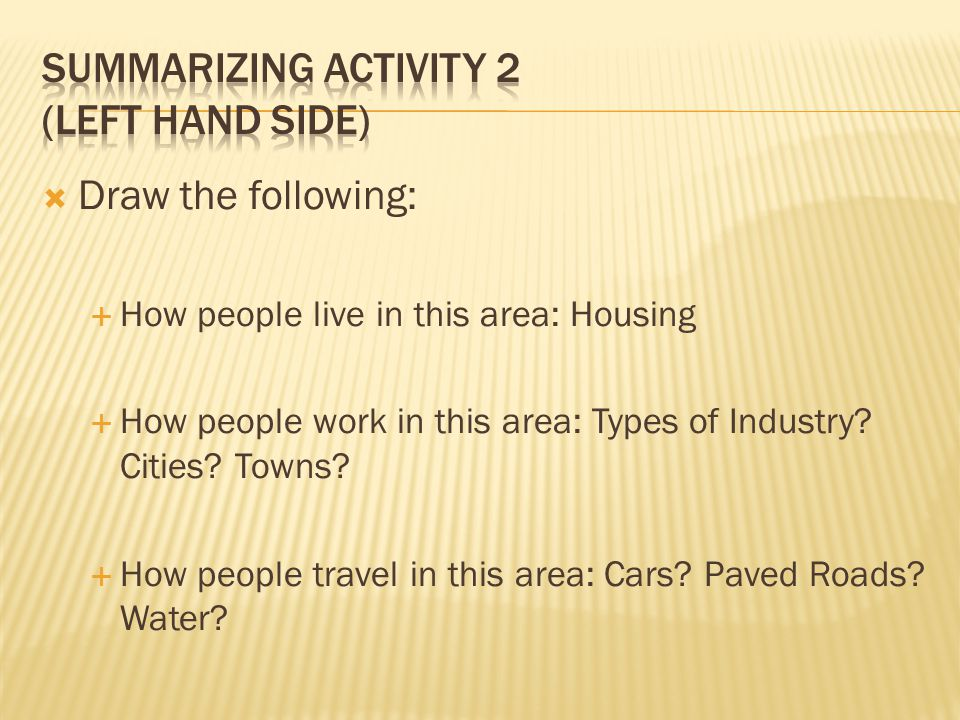Summarizing Activity 2 (Left hand side)