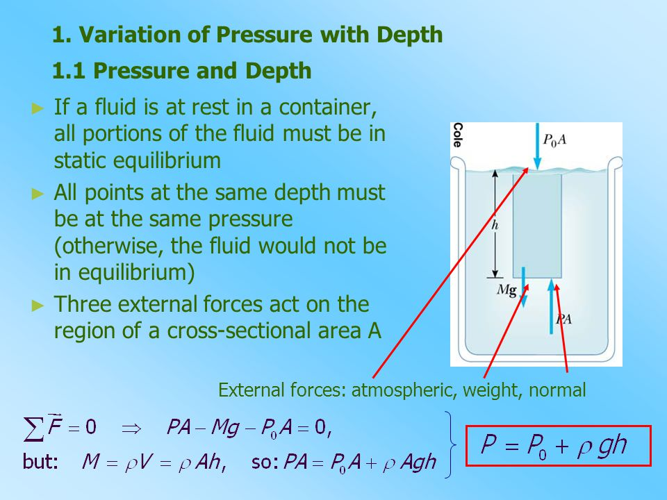 1. Variation of Pressure with Depth 1.1 Pressure and Depth