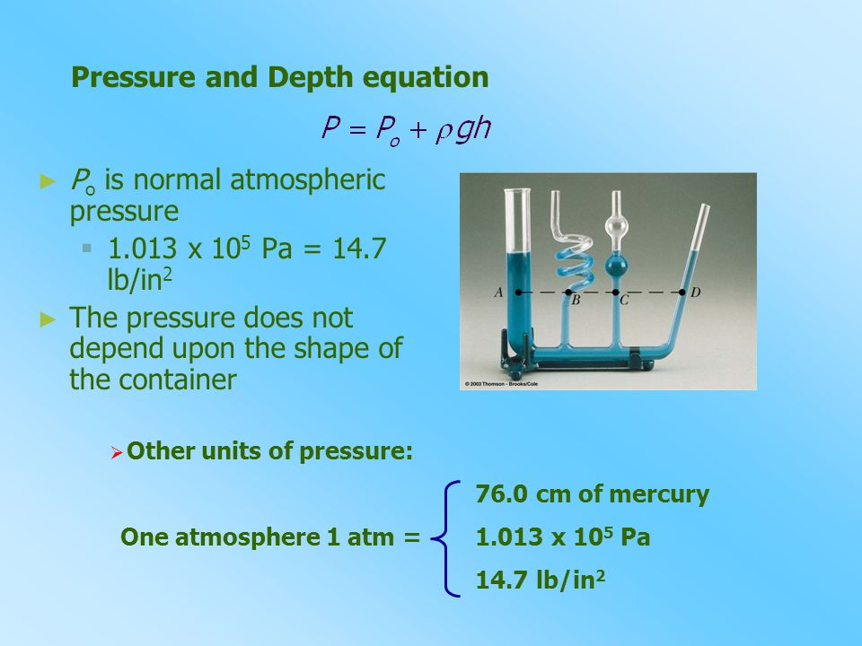 Pressure and Depth equation
