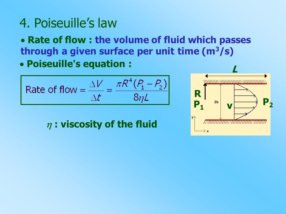 4. Poiseuille's law  Rate of flow : the volume of fluid which passes through a given surface per unit time (m3/s)