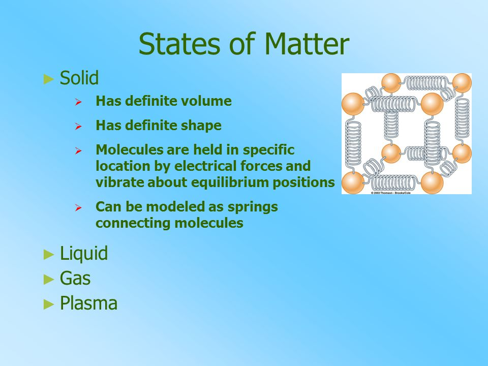 States of Matter Solid Liquid Gas Plasma Has definite volume