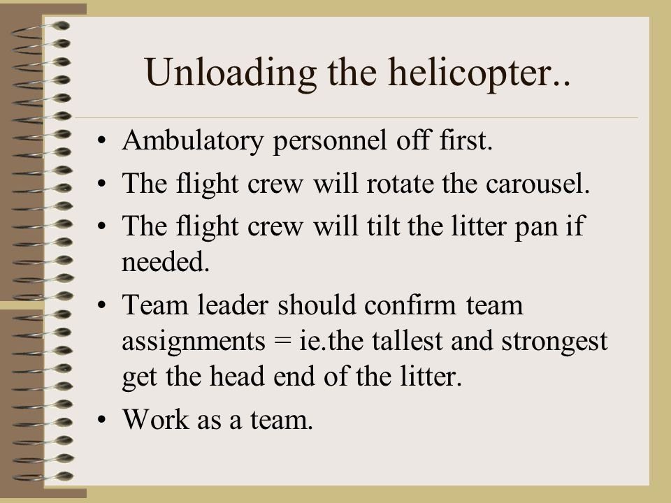 Unloading the helicopter..