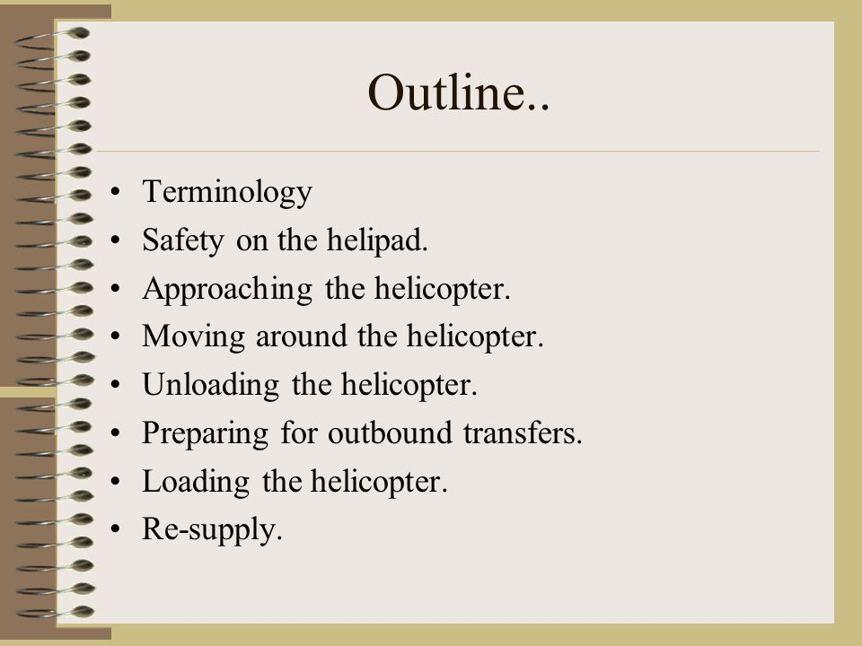 Outline.. Terminology Safety on the helipad.