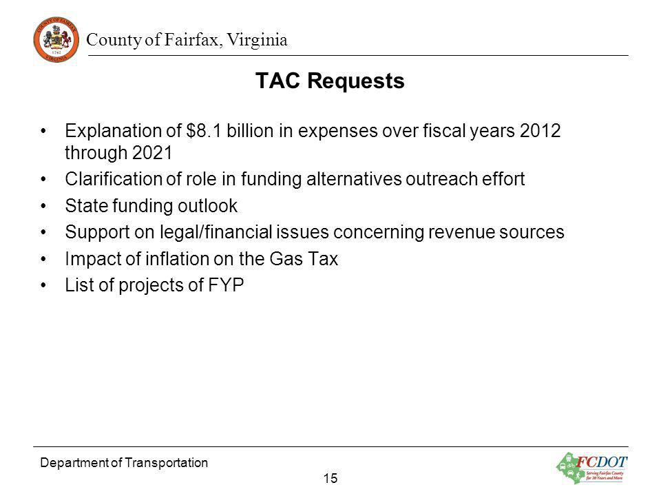 TAC RequestsExplanation of $8.1 billion in expenses over fiscal years 2012 through 2021.