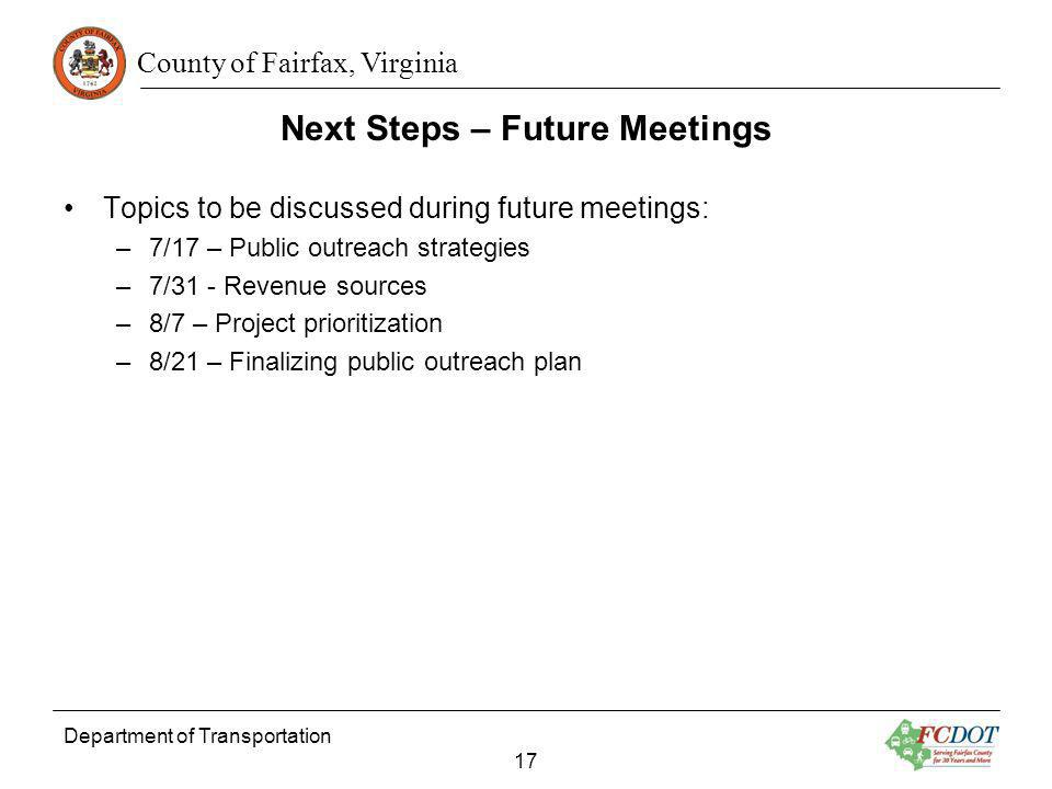 Next Steps – Future Meetings
